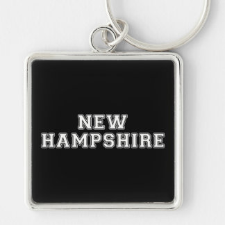 New Hampshire Silver-Colored Square Keychain