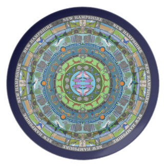 New Hampshire State Mandala Plate