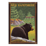 New HampshireBlack Bear in Forest Poster