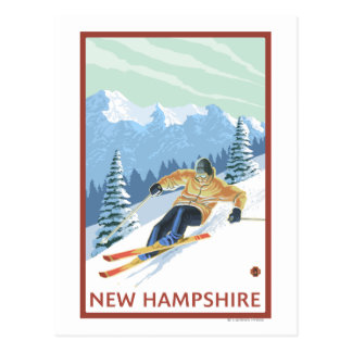 New HampshireDownhill Skier Scene Postcard