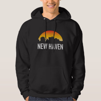 New Haven Connecticut Sunset Skyline Hoodie