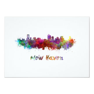 New Haven skyline in watercolor Card