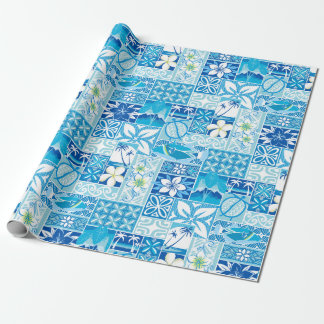 New Hawaiian Motif - blue Wrapping Paper