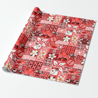 New Hawaiian Motif - red Wrapping Paper