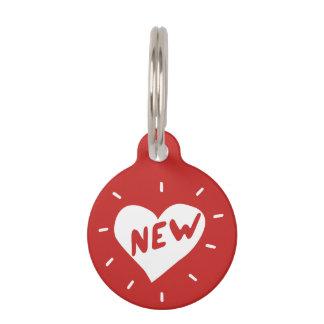 New Heart / Round Small Pet Tag