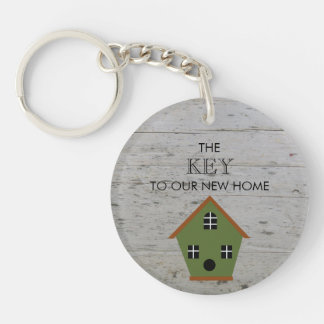 New Home Birdhouse key to our new home wood Keychain