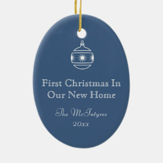 New Home Blueprint Drawing Blue and White Ceramic Oval Ornament
