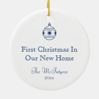 New Home Blueprint Drawing Blue and White Round Ceramic Ornament