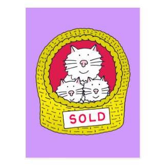 New Home Cats in cat basket with sold sign on it. Postcard