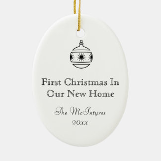 New Home Ink Drawing Black and White Ceramic Oval Ornament