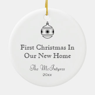 New Home Ink Drawing Black and White Round Ceramic Ornament