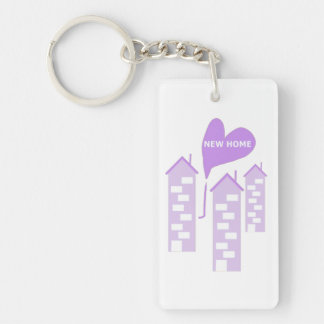 New Home love heart illustration of flats add text Single-Sided Rectangular Acrylic Keychain