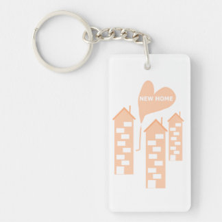New Home love heart illustration of flats on key-r Single-Sided Rectangular Acrylic Keychain