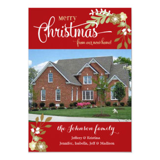 New Home-Merry Christmas custom photo Card