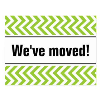 New home moving postcards green zigzag stripes