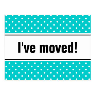 New home moving postcards turquoise polkadots