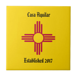 New Home New Mexico Zia Symbol Personalize Tile