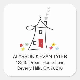New Home Square Address Labels Square Sticker