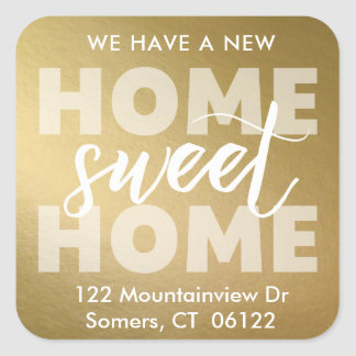 New Home Sweet Home Gold Foil Moving Address Label