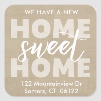 New Home Sweet Home Tan Address Label