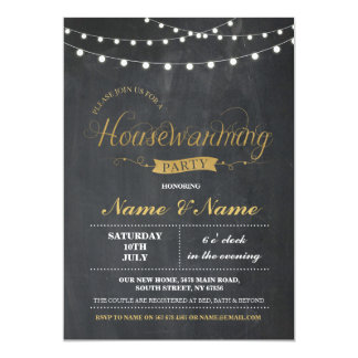 New Home Sweet House Warming ChalkBoard Key Invite