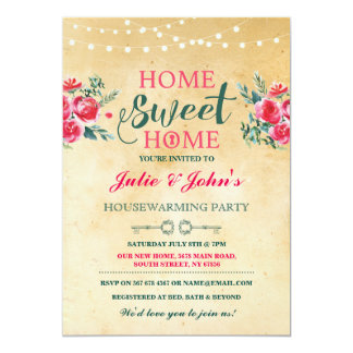 New Home Sweet House Warming Floral Key Invite