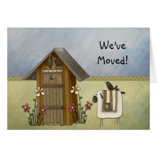 New Home We've Moved Country Crows Outhouse Card