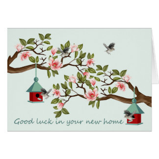 New Home With Birds And Bird Houses In A Magnolia Card