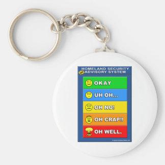 New Homeland Security Advisory System Basic Round Button Keychain