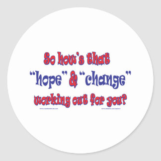 NEW-HOPE-AND-CHANGE-Funky Script Round Sticker