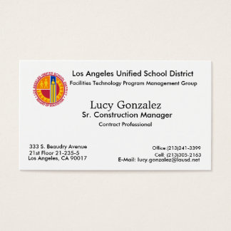 New Image, Lucy Gonzalez, Los Angeles, CA 90017... Business Card