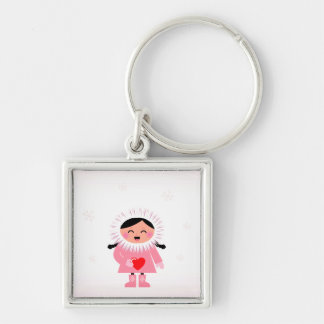 New in Shop : hand-drawn Winter girl Silver-Colored Square Keychain