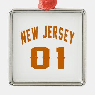 New Jersey  01 Birthday Designs Silver-Colored Square Ornament