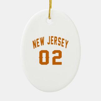 New Jersey  02 Birthday Designs Ceramic Oval Ornament