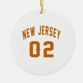 New Jersey  02 Birthday Designs Round Ceramic Ornament