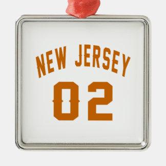New Jersey  02 Birthday Designs Silver-Colored Square Ornament