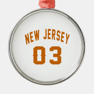 New Jersey  03 Birthday Designs Silver-Colored Round Ornament