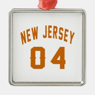 New Jersey  04 Birthday Designs Silver-Colored Square Ornament