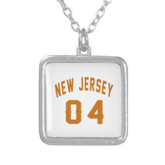 New Jersey  04 Birthday Designs Silver Plated Necklace