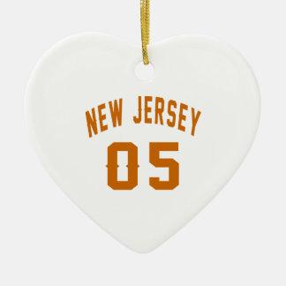 New Jersey  05 Birthday Designs Ceramic Heart Ornament