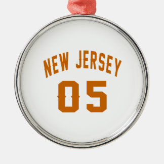 New Jersey  05 Birthday Designs Silver-Colored Round Ornament