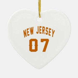 New Jersey  07 Birthday Designs Ceramic Heart Ornament