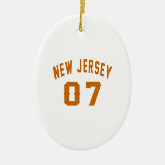 New Jersey  07 Birthday Designs Ceramic Oval Ornament