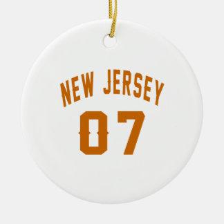 New Jersey  07 Birthday Designs Round Ceramic Ornament