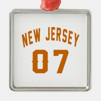 New Jersey  07 Birthday Designs Silver-Colored Square Ornament