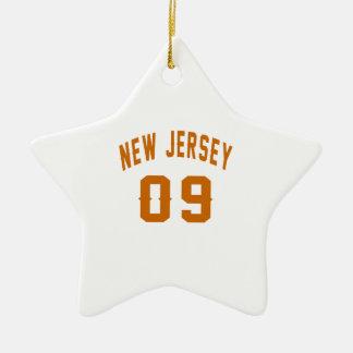 New Jersey  09 Birthday Designs Ceramic Star Ornament