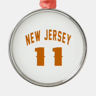 New Jersey  11 Birthday Designs Silver-Colored Round Ornament