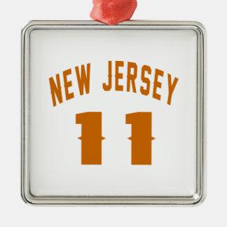 New Jersey  11 Birthday Designs Silver-Colored Square Ornament