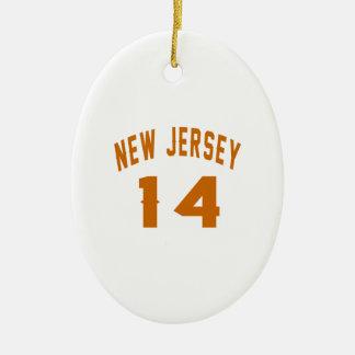 New Jersey  14 Birthday Designs Ceramic Oval Ornament