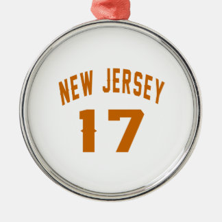 New Jersey  17 Birthday Designs Silver-Colored Round Ornament